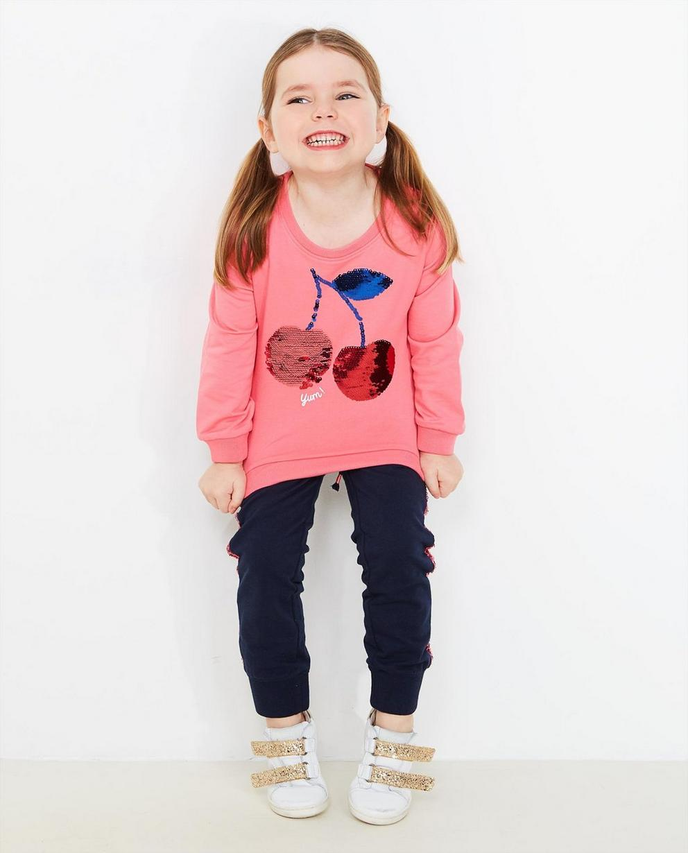 Rosa Swipe-Sweater - mit Pailletten Kirschen - JBC